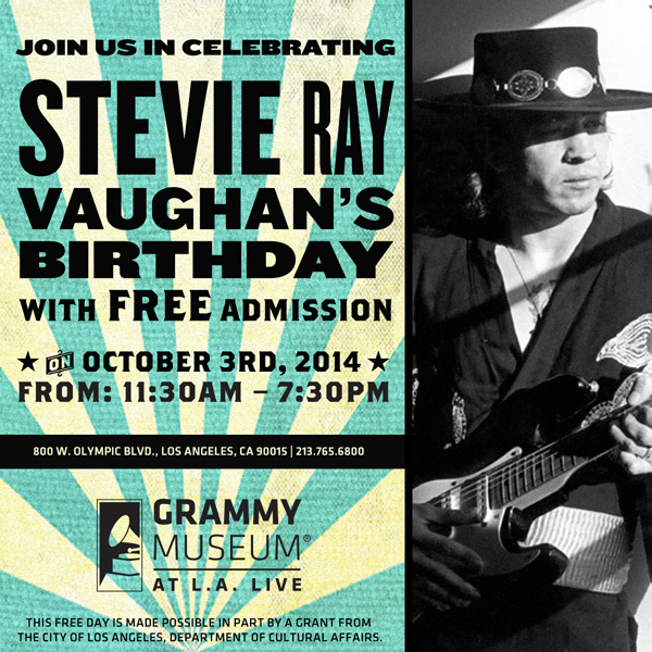 Stevie Ray Vaughan Birthday - Free admission to GRAMMY Museum October 3, 2014