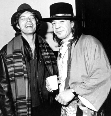 Stevie Ray Vaughan and Mick Jagger